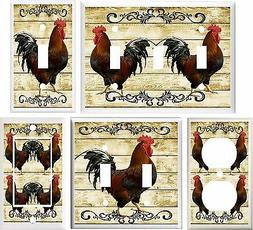 COUNTRY ROOSTER PRIMITIVE KITCHEN DECOR LIGHT SWITCH COVER P
