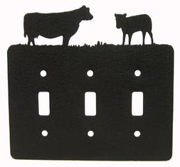 Innovative Fabricators, Inc. Cow Triple Light Switch Plate C