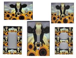 COW WITH SUNFLOWERS KITCHEN HOME DECOR LIGHT SWITCH PLATES O