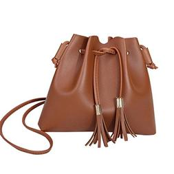 Crossbody Shoulder Bag,AfterSo Solid PU Leather Tassels Mess