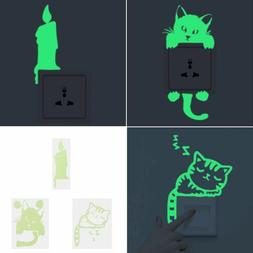 Cute Home Luminous Switch Wall Stickers Night Light Bedroom