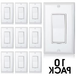 Maxxima Single Pole Decorative Wall Switch 15A On/Off White,