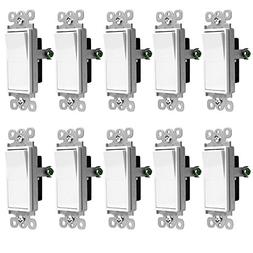 ENERLITES Three Way Decorator Rocker Light Switch, 3-Way or