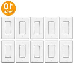 Enerlites Decorator On/Off Paddle Wall Switch with Covers, 9