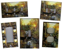 DEER IN THE WOODS HOME WALL DECOR LIGHT SWITCH PLATES AND OU