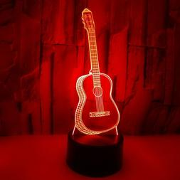 Delicate 3D Guitar USB LED Switch Night Lights Home Decor Be