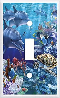 DOLPHINS SEA TURTLE OCEAN LIFE LIGHT SWITCH COVER PLATE