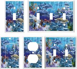 DOLPHINS SEA TURTLE OCEAN LIFE LIGHT SWITCH COVER PLATE    H