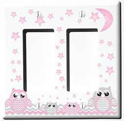 Double Rocker Grey and Pink Owl Light Switch Plate Covers an