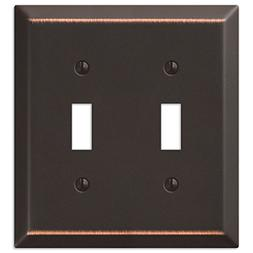 Double Toggle Wall Switch Plate Cover, Oil Rubbed Bronze