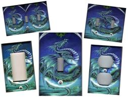 DRAGON ON BLUE HOME DECOR LIGHT SWITCH PLATES AND OUTLETS