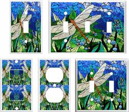 DRAGONFLY 3 STAINED GLASS INSPIRED LIGHT SWITCH COVER PLATE