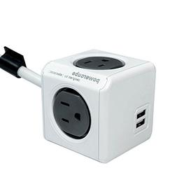 PowerCube Dual USB Port with 4 Outlets 10ft Extension Cord S