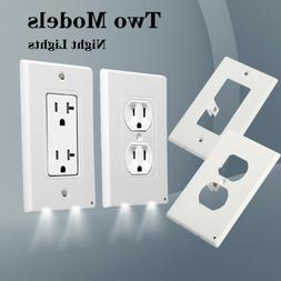 Duplex 2 LED Night Angel Light Sensor Plug Cover Wall Outlet