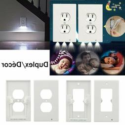 Duplex Outlet Wall Plate Plug Cover With LED Night Lights Am