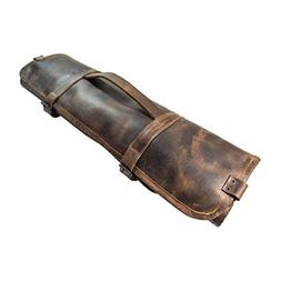 Durable Leather Knife Roll With Durable Water Resistant Canv