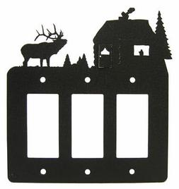 Elk & cabin triple GFCI rocker light switch plate cover