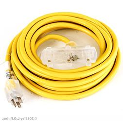 25 ft Extension Cord 3 Plug Lighted 12/3 Gauge Indoor Outdoo