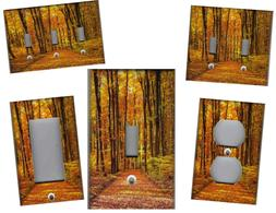 FALL AUTUMN FOREST HOME WALL DECOR LIGHT SWITCH PLATES OR OU
