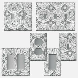 Farmhouse Grey Gray and White Lace Doilies Light Switch Cove