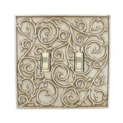 Meriville French Scroll 2 Toggle Wallplate, Double Switch El