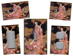 GEISHA IN FLOWERS ASIAN HOME DECOR LIGHT SWITCH PLATES AND O