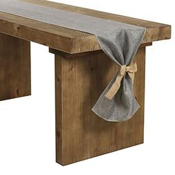 Ling's moment Gray Burlap Table Runner 14 x 120 Inch with Bo
