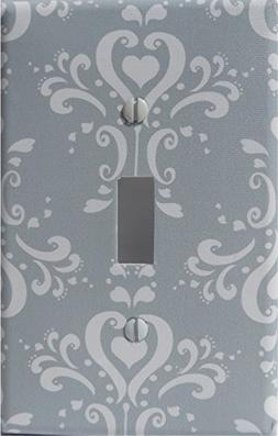 Gray Damask Light Switch Plate Covers / Single Toggle / Dama