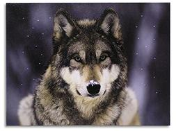 Gray Wolf Print - Wolf LED Lighted Canvas Picture - Wildlife