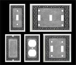 GREEK KEY GRAY TONE LIGHT SWITCH COVER PLATE K1    HOME DECO