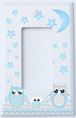 Single Rocker Grey and Blue Owl Switch Plate Covers / Owl Nu