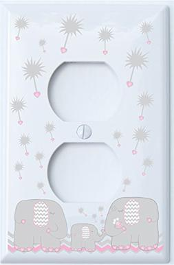 Grey and Pink Dandelion Elephant Outlet Switch Plates Covers