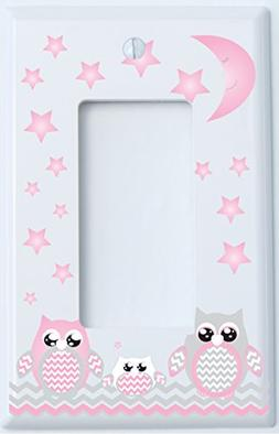 Grey and Pink Owl Light Switch Plate Rocker Covers / Owl Nur