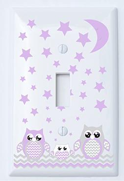 Grey and Purple Owl Light Switch Plate Covers / Single Toggl