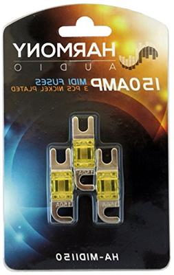 Harmony Audio HA-MIDI150 Car Stereo Fuseholder 3 Pack 150 Am