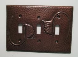 Hammered Copper Switch Plate Cover Ginkgo Triple Toggle Arts