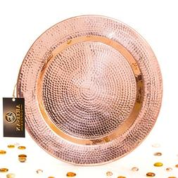 Hammered Pure Copper Serving Tray - Handmade Round Charger P