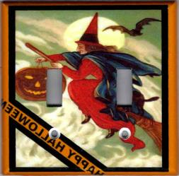 HAPPY HALLOWEEN WITCH HOME DECOR LIGHT SWITCH PLATES AND OUT