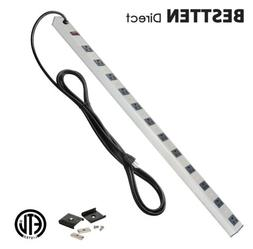 BESTTEN 16 Outlet Metal Housing Power Strip With 15ft Long H