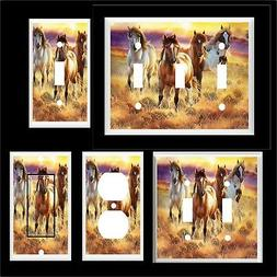 HORSES SUNSET LIGHT SWITCH COVER PLATE   OR OUTLET HOME DECO