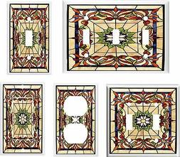 IMAGE OF FLORAL STAINED GLASS 15 LIGHT SWITCH COVER PLATE U