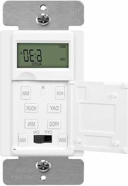 In-Wall 7-Day Digital Programmable Timer Switch for Fans, Li