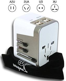 International Travel Adapter Charger 3500mA 4 USB Port by La