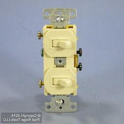 Hubbell Ivory Double Wall Light Switch Duplex Toggle 15A Sin