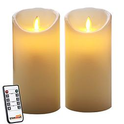 Homemory Pack of 2 Ivory Wax Flameless Candle with Remote, 7