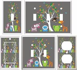 JUNGLE BABIES ZOO ANIMALS NURSERY DECOR LIGHT SWITCH COVER P