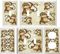 JUNGLE BABY MONKEY NURSERY DECOR CUTE LIGHT SWITCH COVER PLA