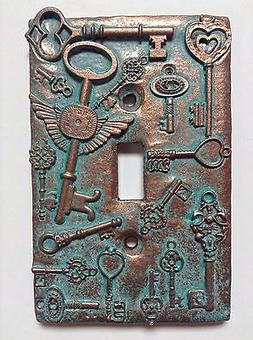 Keys  Stone/Copper/Patina Light Switch Cover