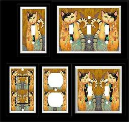 KLIMT CAT CALICO LIGHT SWITCH COVER PLATE MULTIPLE PLATES