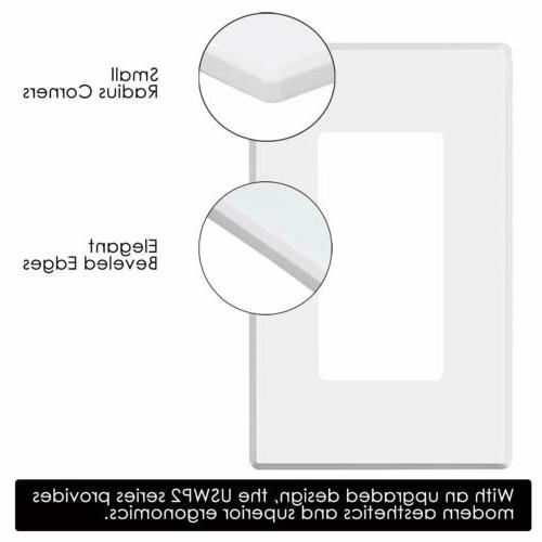 BESTTEN Wall Plate Switch GFCI Rocker Outlet Cover White